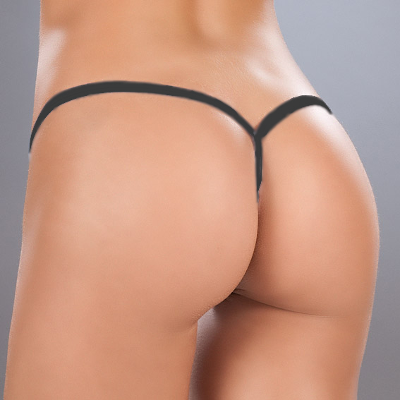 Rear view of black g-string