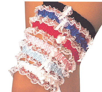 Different colored leg garter belts.