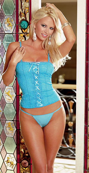 Blue corset and matching blue thong.