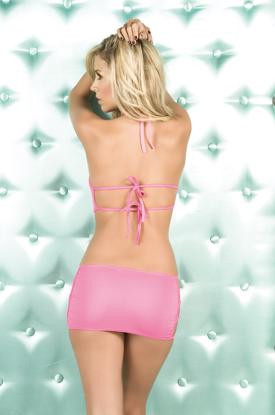 Back view of clubwear.