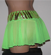 Back view of mesh see through mini skirt