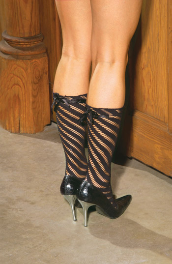 Black striped sexy sox with bow.