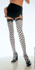 Black and white checkered stockings.