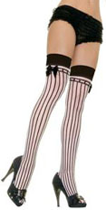 Thigh highs with black and white stripes.