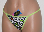 Colorful thong with little hearts.